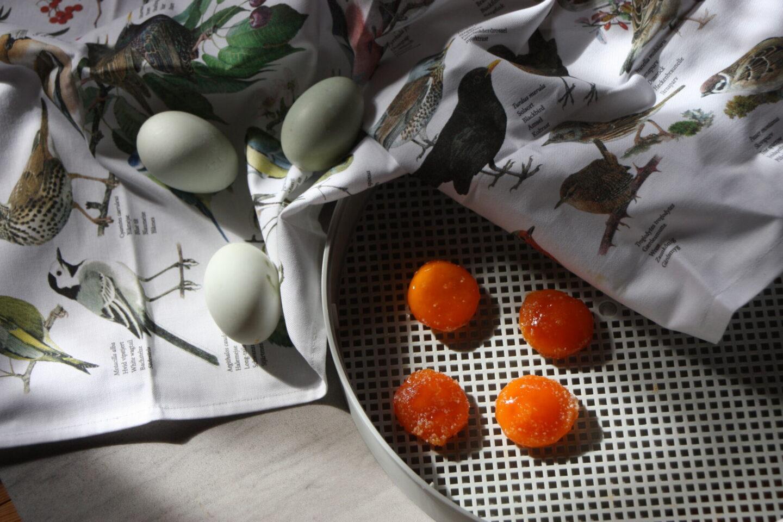 saltede tørrede æggeblommer dehydrator